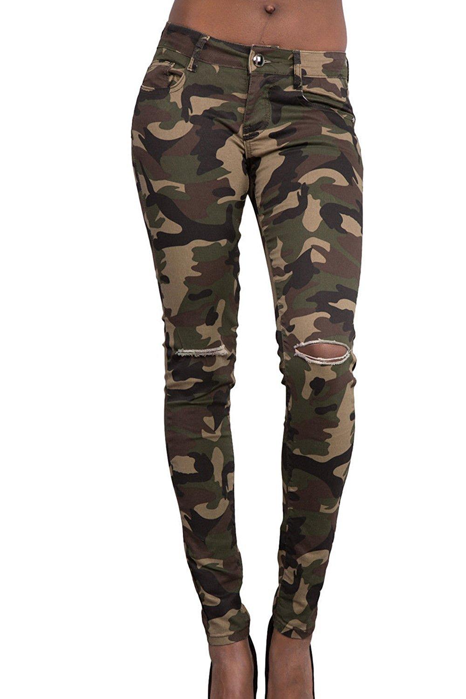 Pantalones rotos camuflaje mujer
